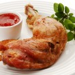 Stock Photo: Roasted chicken leg