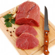 Raw beef on cutting board isolated — Stock Photo #2501892