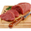 Raw beef on cutting board isolated - Lizenzfreies Foto