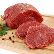 Raw beef on cutting board isolated - 