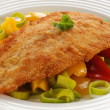 Fried fish fillet with vegetables — Photo