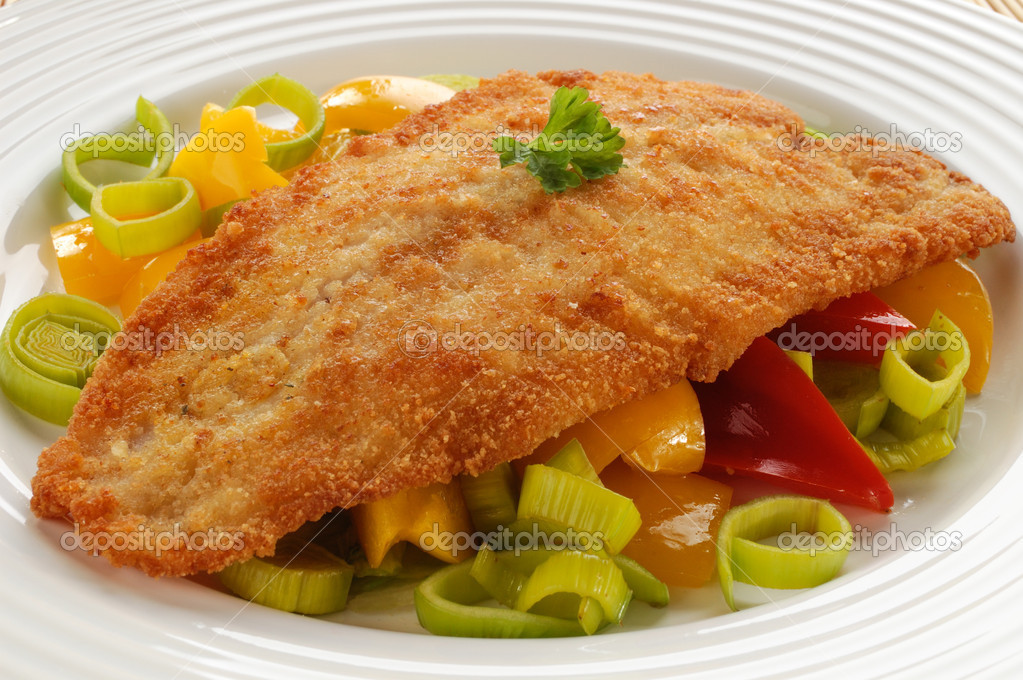 Fried fish fillet with vegetables  Stock Photo #2502270