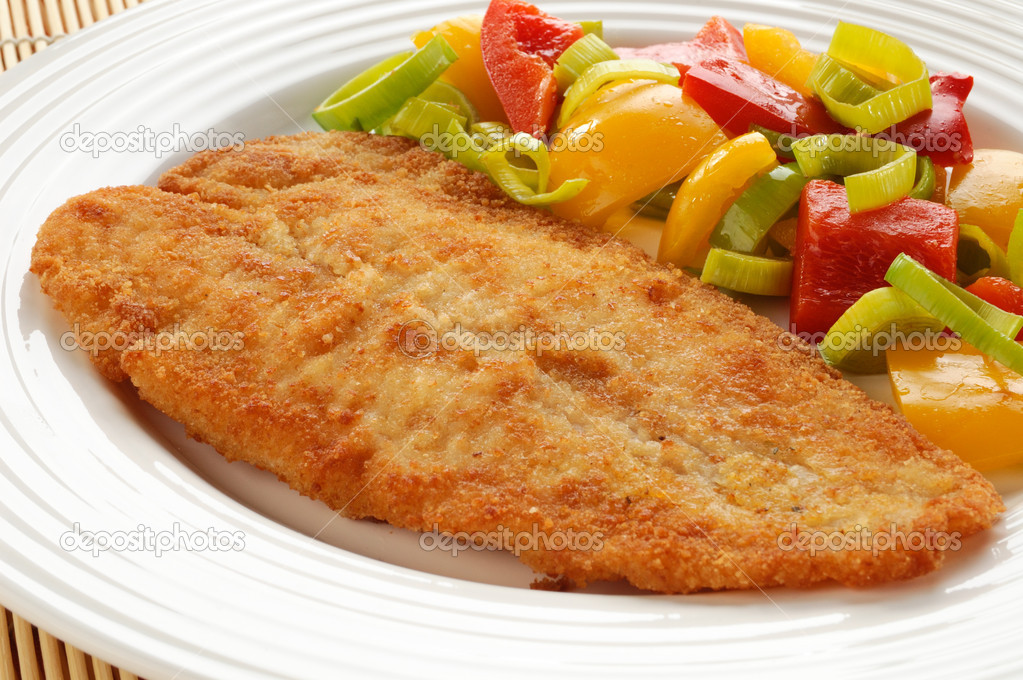 Fried fish fillet with vegetables — Stock Photo © gbh007 #2502316