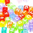 Colourful alphabet blocks background — Stock Photo