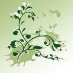 Grunge floral background illustration — Stock Vector