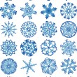 Beautiful crystal gradient snowflakes — Stock Vector