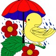 Little Duck under umbrella in rain — Stock Vector