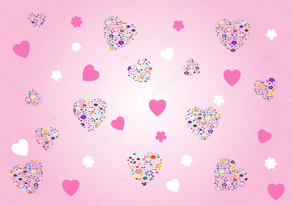 Valentines abstract  background - vector illustration. Fully editable, easy color change  Stock Vector #1653227