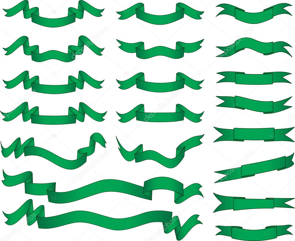 Green banners set. Vector illustration. Fully editable, easy color change.  Stock Vector #1653286