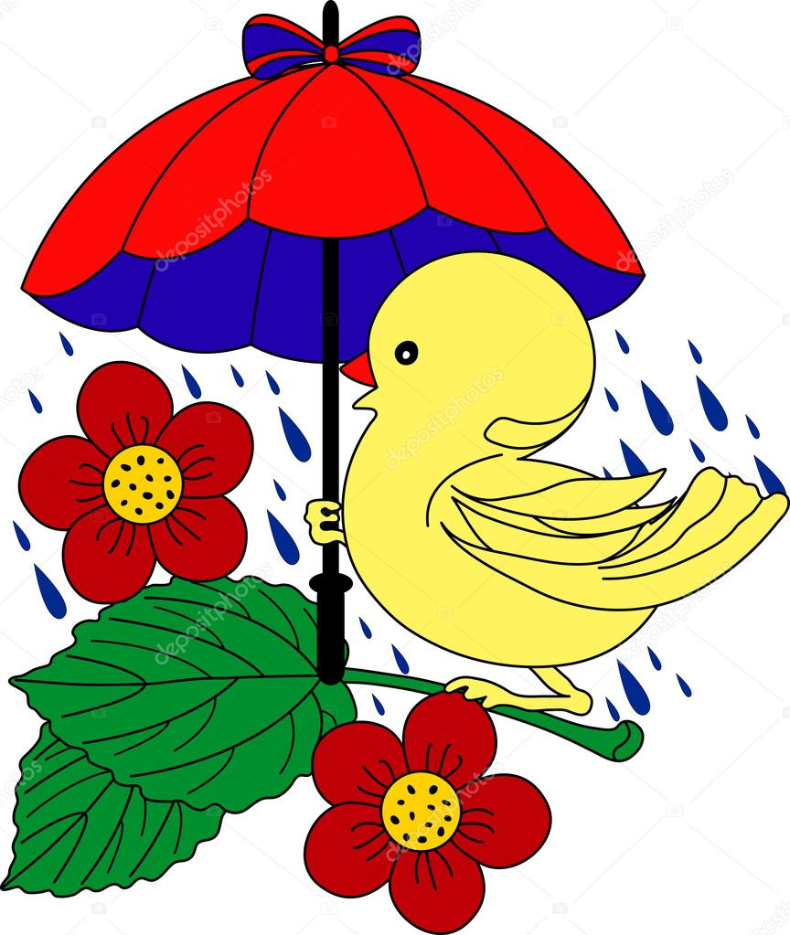 Little Duck under umbrella in rain - vector illustration. Fully editable, easy color change.  Stock Vector #1653343