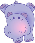 Hipopótamo gracioso - imagen ilustración — Vector de stock