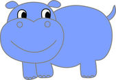 śmieszne hipopotam - ilustracja — Wektor stockowy