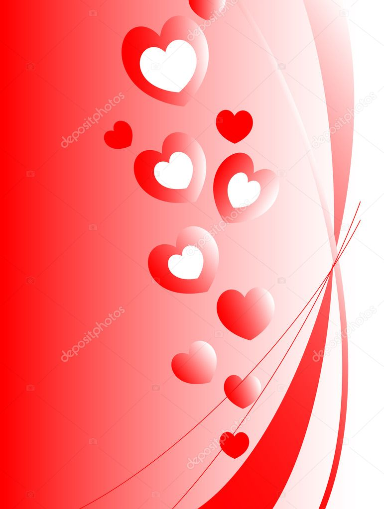 Valentines ornament with red love hearts - vector illustration. Fully editable, easy color change. — Stock Vector #1795359