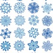 Beautiful crystal gradient snowflakes — Imagen vectorial