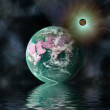 Planet in space with reflection in water — Stock Photo