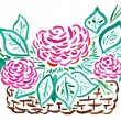 Stock Photo: Basket of red roses - hand drawing
