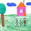Children's paint family in nature — Stock Photo #1933528