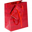Red paper shopping bag isolated on white — Stock Photo
