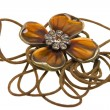 Vintage brown pendant, coulomb flower — Stock Photo