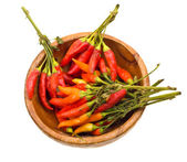 Close-up hot paprika on a wooden plat — Stock Photo