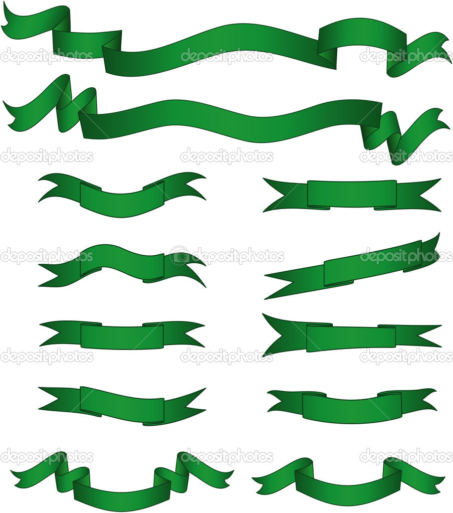 Green banners set. Vector illustration. Fully editable, easy color change. — Vettoriali Stock  #1934050
