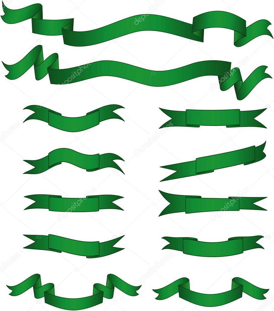 Green banners set. Vector illustration. Fully editable, easy color change. — Imagen vectorial #1934050