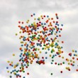 Stock Photo: Colored balloons on sky to background