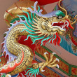China dragon on oriental temple roof — Stock Photo