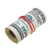 Money roll with US dollars bills — Stock Photo