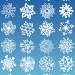 Beautiful crystal gradient snowflakes - Stock Vector