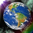 Earth blue planet in space to background — Stock Photo