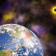 Earth blue planet and sun in space — Stock Photo