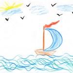 Children's paint ship in sea — Stock Photo #2132037