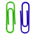 Two colored paper clips on white — Stock Photo #2132262