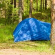 Summer landscape with blue tourist tent — Stock Photo
