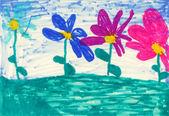 Children's paint flowers — Stock Photo