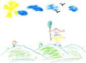 Kinder malen Mädchen mit Ballon — Stockfoto