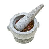 Close-up stone mortar and pestle — Stock Photo