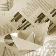 Business concept, paper boat — Stock Photo