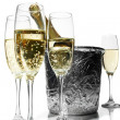 Royalty-Free Stock Photo: Champagne flutes and ice bucket