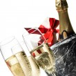 Champagne flutes and ice bucket — Stock Photo #1665128