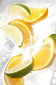 Blad mynta och klippa citrus i is — Stockfoto