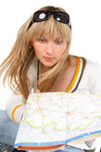 The girl with a map — Stock Photo