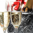 Champagne flutes and ice bucket — Stock Photo #1746390