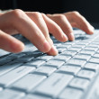 Stock Photo: Male hands typing on a laptop