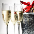 Champagne flutes and ice bucket — Stock Photo #1749741