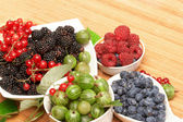 Berries in plates, on a table — Stock Photo