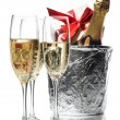 Champagne flutes and ice bucket — Stock Photo #1754784
