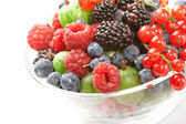 Fruit mix in the glass container — Stock Photo
