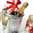 Champagne flutes and ice bucket — Stock Photo #1761333